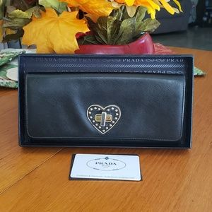 Prada Saffiano Leather Long Wallet With Heart Lock